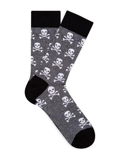 Mavi Kuru Kafa Desenli Soket Çorap Gri